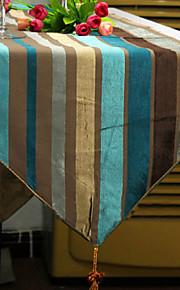 Краткое мягкие многоцветный синели полосы флага бегун стол скатерть коврик кисточка столовая украшение дома