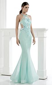 возвращение TS кутюр формальный вечернее платье - труба / русалка высокой шеи длиной до пола тюль