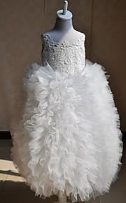A-Lijn Vloer Lengte Bloemenmeisje jurk - Kant/Zijde Mouwloos