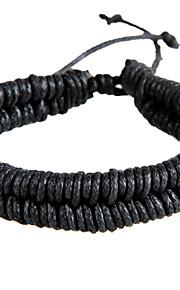 Unisex Korean Style Vintager Weave Chain Bracelet Faux Leather