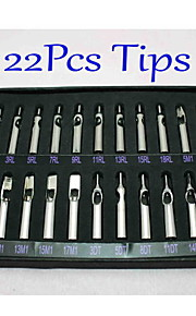 22pcs / set tattoo roestvrij staal nozzle tips set 22 verschillende maten kwaliteit tattoo supply