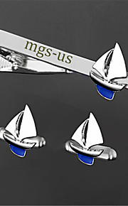 Personalized Gift Men's Engravable Silver Plain Sailing Boat Pattern Cufflinks and Tie Bar Clip Clasp(1 Set)