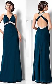 Robe - Bleu Encre Soirée formelle/Bal militaire Fourreau Dos nu Longueur ras du sol Mousseline polyester Grandes tailles