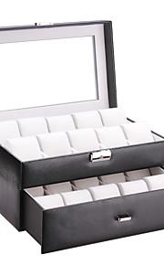 glam non personnalisé boîte de montre-bracelet de cuir artificiel 20 fente verre cas de cadeau d'anniversaire top mari armoire