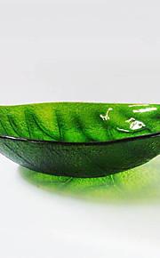 forma de folha verde temperado pia vaso de vidro com pop - up de drenagem e anel de montagem
