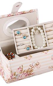 case moderne de bijoux en similicuir deux couches de boîtes à bijoux de vent pastorale imprimés