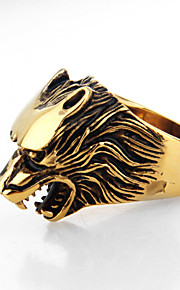 Fashion Wolf Shape Titanium Steel Wholesales Ring For Men (White,Gold)(1Pc)