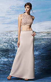 возвращение формальное вечернее платье оболочкой / колонки драгоценность длиной до пола блестками / Джерси