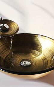 a espiral dourada rodada temperado pia vaso de vidro com torneira em cascata, pop - up de drenagem e anel de montagem