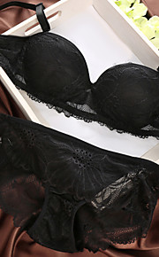 5/8 cup Bras & Panties Sets , Western Style Fashion Underwire Bra Cotton/Lace