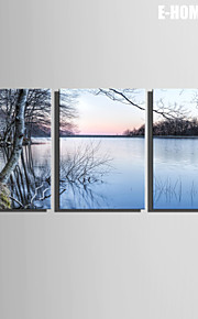 e-Home® sträckta canvas konst sjölandskap dekoration målning uppsättning av 3