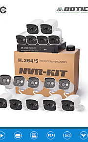 cotier®16ch 1u nvr kits 720p / 960p / 1080p / plug and play / 3,6 mm lens / nachtzicht / ip camera n16b7h / kit