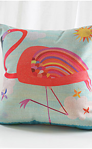 Colorful Crane Cotton/Linen Decorative Pillow Cover