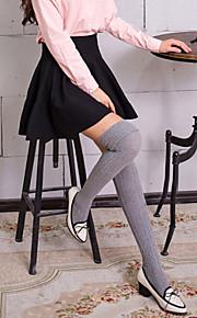 1Pairs Women's Retro Cannabis Thigh Cuffs Flanging Roman Knit Stockings
