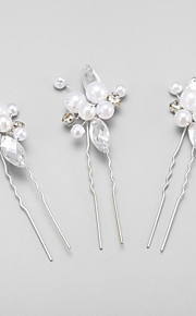 Women's/Flower Girl's Rhinestone/Alloy/Imitation Pearl Headpiece - Wedding/Special Occasion Hair Pin 3 Pieces