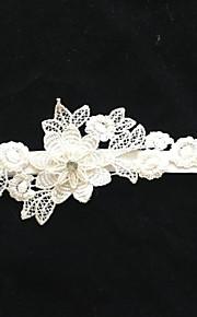 Garter Stretch Satin Flower Ivory