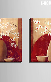 E-HOME® Stretched Canvas Art Flowers And Vases Decorative Painting Set of 2