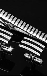 Men's Parallel Stripes Blk Silver Shirt Cufflinks Tie Bar Clip Clasp