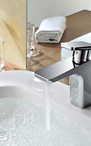 מיקסר פליז כרום עכשווי חם וקר יחיד חדר אמבטיה ידית ברז כיור אגן