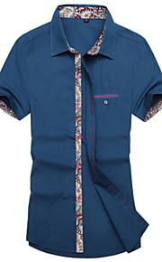 Camicia Uomo Casual Tinta unita Manica corta Cotone