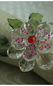 Kristallblumendekoration Serviettenring, Acryl, 1.77inch, Satz von 12