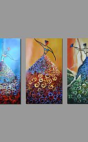 met de hand geschilderd olieverf op doek kunst aan de muur abstracte drie panel danser naakt meisjes klaar te hangen