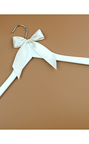 White Wood Wedding Dress Hanger with Ivory Bow