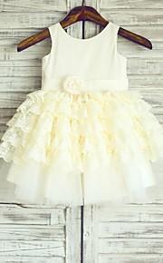 Vestido para Meninas das Flores - Princesa Coquetel Sem Mangas Algodão/Renda/Tule