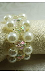 pärla handstickad servettring, akryl, 1.77inch, set om 12