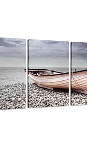 star®boat visuelle sur la plage de toile tendue Impression 3 panneau de haute qualité art mural prêt à accrocher