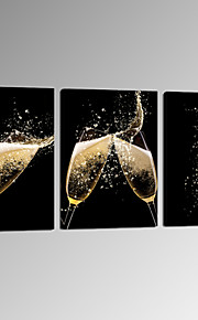 VISUAL STAR®Champagne Glass Modern Canvas Wall Art for Restaurant Decor 3 pcs Canvas Artwork Ready to Hang