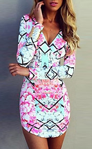 Women's Floral Multi-color Dress , Sexy / Bodycon / Casual V Neck Long Sleeve