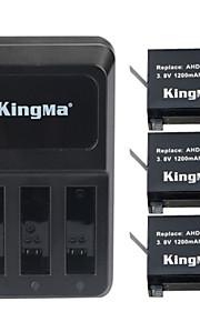 Kingma 3pcs ahdbt-401 1200mAh batterij + 3-slot acculader voor GoPro held 4 zwart zilver batterij