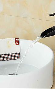 antieke stijl orb& metal tekenen enkel handvat een gat warm en koud water badkamer wastafel kraan - zwart