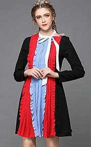 Women Clothing Autumn Vintage Loose Plus Size Hollow Lace Pleat Patchwork Fashion Party/Casual/Work Dress
