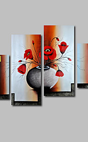 Hand-Painted Oil Painting on Canvas Wall Art Modern Flowers Red Poppies Three Panel Ready to Hang