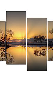 paysages visuelle star®natural toile tendue impression coucher de soleil impression art mural du lac prêt à accrocher