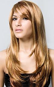 леди глянцевые девственница Remy человека монолитным длинные волосы волнистые парики моно топ