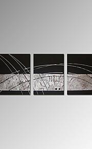 visuell star®abstract 3 stk oljemaleri enkel linje hånd maling lerret kunst klar til å henge