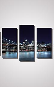 Paysage / Architecture / Voyage Toile Cinq Panneaux Prêt à accrocher , Format Horizontal