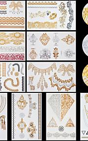 10pcs Body Art Temporary LS Lace Lines Gold Silver Flash Metallic Tattoos Sticker Jewelry Waterproof