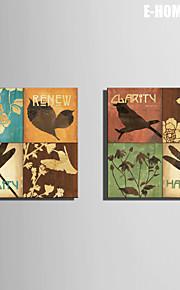 e-home® strukket lerret kunst små dyr og blomster dekormaling sett 2