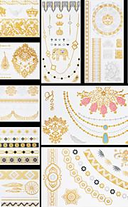 10pcs Body Art Temporary GLH Dreams Gold Silver Flash Metallic Tattoos Sticker Jewelry Waterproof Flowers Angel Wings