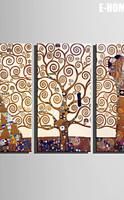 E-HOME® Stretched Canvas Art Abstract Women And Trees Decoration Painting  Set of 3