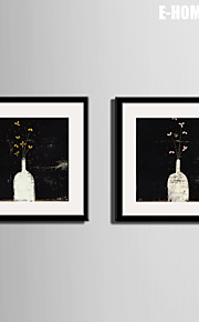E-HOME® Framed Canvas Art, The Flower in The Bottle Canvas Print Set of 2