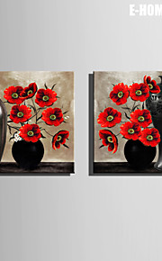 E-HOME® Stretched Canvas Art Vase And Red Flower Decorative Painting Set of 2