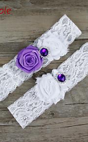 Stretch Satin / Lace Wedding Elegant Garter with Flower /Rhinestone