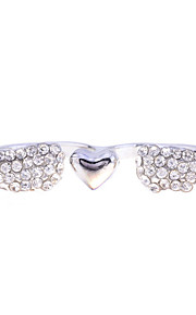 Korean Fashion Studded With Drill Wings Of Love Bicyclo- Cuff Alloy Ring