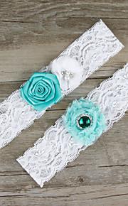 Stretch Satin / Lace Wedding Bride Elegant Garter with Flower / Rhinestone Blue