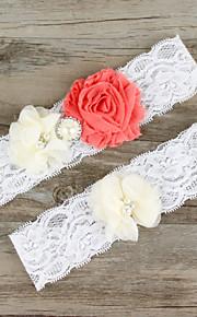 Stretch Satin / Lace Wedding Elegant Garter with Flower / Imitation Pearl